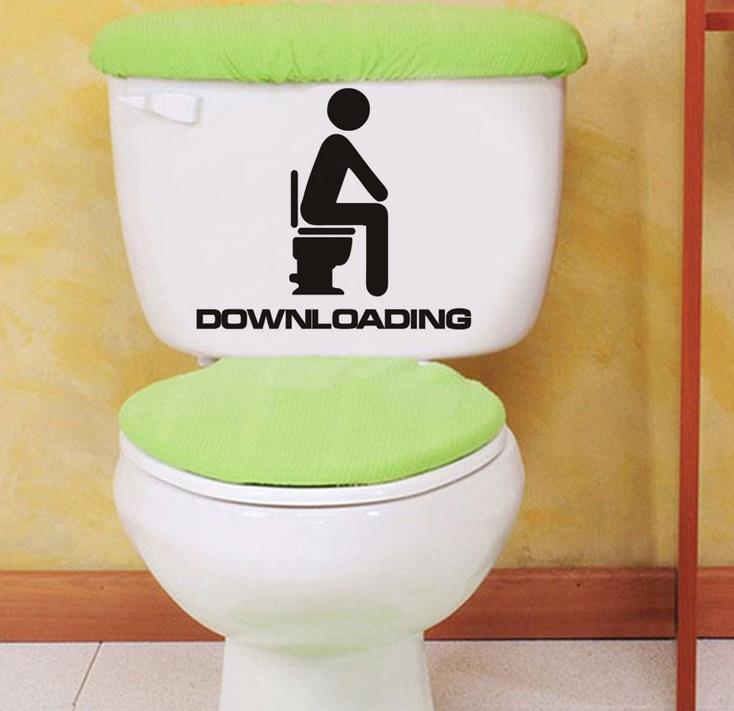 Vtipná koupelna Záchodová sedačka nálepka Stahování WC Vinylová samolepka Lednička Pračka Umělecký design Lepicí obrazy na stěnu Vyměnitelné