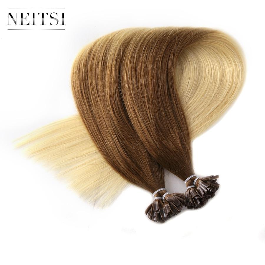 Neitsi Straight Indian Keratin Human Fusion Hair Negle U Tip 100% - Menneskehår (hvid) - Foto 3