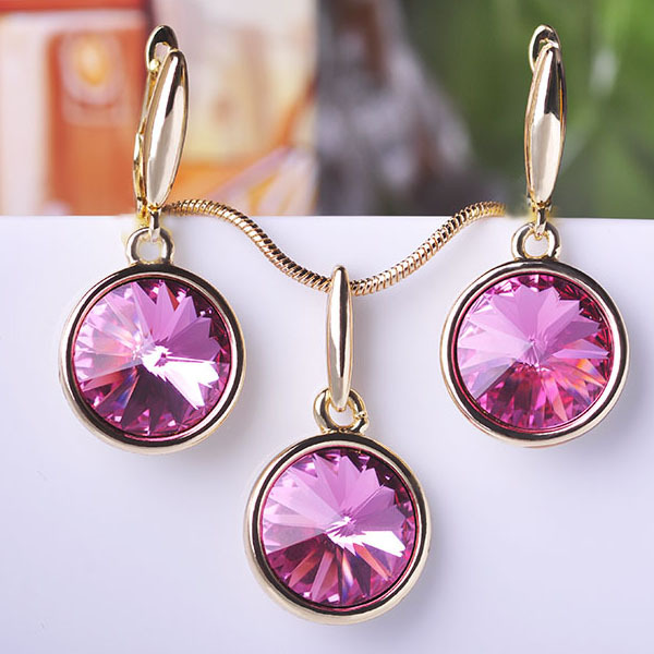 Newest Jewelry Sets Earrings Necklace CZ Zircon Colorful Spring Summer Collar Femininos Joias ouro orecchini Elegant Style