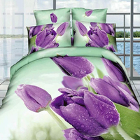 3D Oil Purple Tulips Bedspreads,4pc duvet cover without filler,100% cotton Queen Full size Purple Tulips Floral Bedding Sets