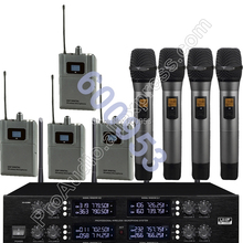 MICWL Wireless Radio Digital Microphone - 4 Beltpack 4 Lavalier and 4 Handheld System for Stage karaoke performance etc. micwl 2038v high end 8 lapel lavalier mics uhf led digital radio cordless wireless karaoke microphones system