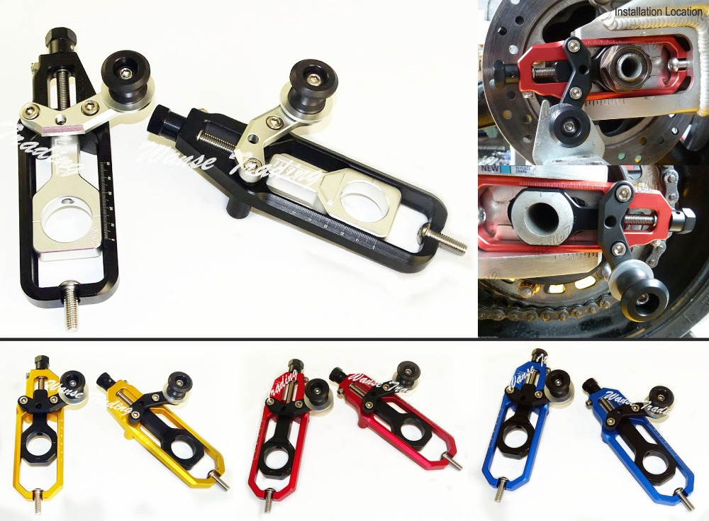 waase CNC Aluminum Chain Adjusters with Spool Tensioners Catena For Yamaha YZF R1 2009 2010 2011 2012 2013 2014 cnc aluminum chain adjusters with spool tensioners catena for kawasaki zx 6r zx6r zx 6r 2009 2010 2011 2012 2013 2014 2015