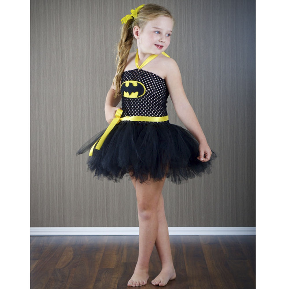 Batman Girl Dress Halloween Cosplay Baby Girl Clothes Superhero Princess Costume Batman Toddler Girl Dress Halloween Party