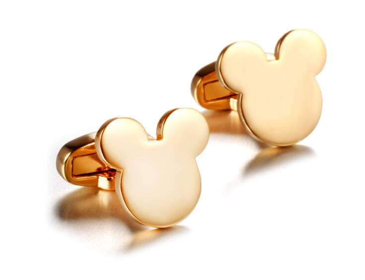 30pairs lot Golden Mouse Shape Cuff Links Lovely Mickey Cufflinks Copper Cuff Button Fashion Men s