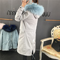Natural Big Raccoon fur hood Jeans material jacket Oversize style outerwear real fox fur liner long fur collar women's fur coat