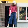 Wfst brand new 2016 outono e inverno azul solto ampla calças perna das calças de brim das mulheres calças de comprimento no tornozelo denim calças mf161052