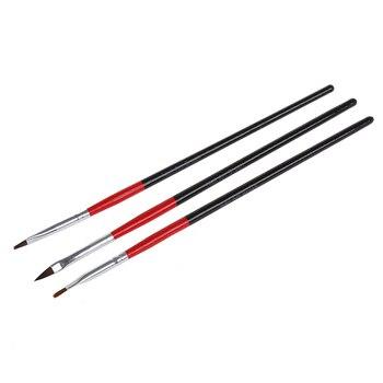 3 X uñas de Gel UV acrílicas puntas falsas pluma del cepillo del constructor