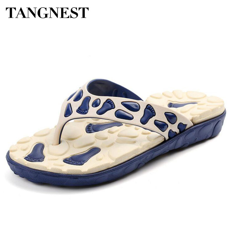 Tangnest Summer Men Massage Slippers Men Non-Slip Flip Flops Male Casual Beach Shoes Comfort Slip-on Platform Sandals Man XMT207 lanshulan bling glitters slippers 2017 summer flip flops shoes woman creepers platform slip on flats casual wedges gold