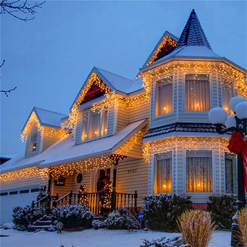 Открытый светодиодный Шторы огни строки Новогодняя гирлянда Gerlyanda праздник огней украшения для Свадебная вечеринка Новый год Home Decor