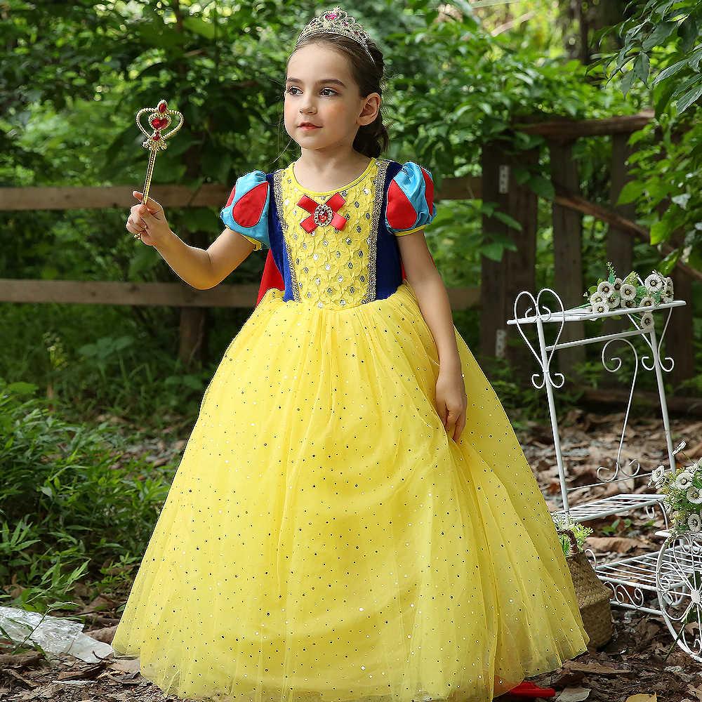 af99b6fbb4225 News 2018 Christmas Princess Snow White girl baby dresses kids long Ball  Gown dress children Party dress vestido Costume