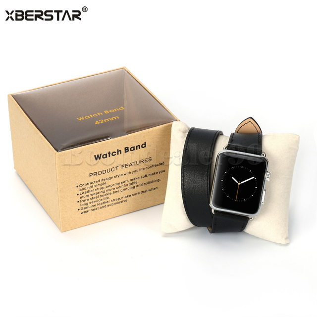 Long Genuine Leather Watchband Strap Double Tour Bracelet for Apple Watch 38/42mm