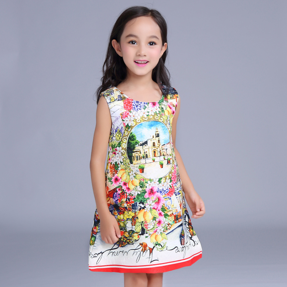 2017 new Summer Children Dress Girls Cotton Printed Sleeveless Vintage Floral Print Dress Fashion Kids Clothes 2 3 4 5 6 years 2018 new fashion little girls summer floral dress print flowers loose casual party dress for gril cotton children kids clothes