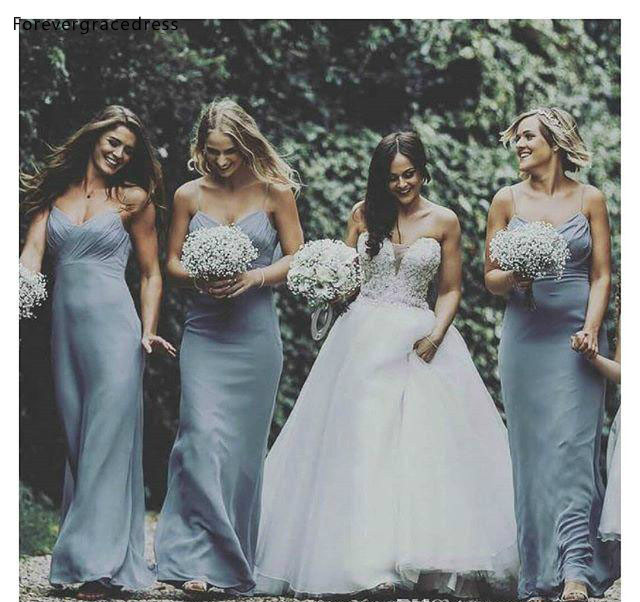Cheap Dusty Blue   Bridesmaid     Dress   Chiffon Western Summer Country Garden Formal Wedding Party Guest Maid of Honor Gown Plus Size