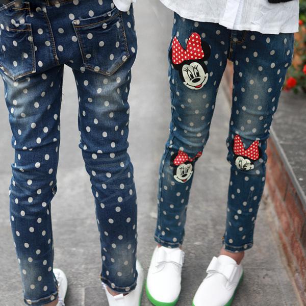 2016 primavera e no outono roupas das crianças menina minnie mouse dot Jeans, calças crianças 3 4 5 6 7 8 9 10 11 12 13 14 anos