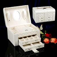 Fashion Jewelry Box Organizer Jewelry Storage Case Case PU Leather Packaging Ring Earrings Necklace Pendant Display