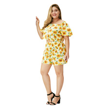WHZHM Summer Plus Size 3XL 4XL Flower Sets Women Loose Casual Printed Two Pieces Beach Floral Crop Tops and Short Pants Ladies
