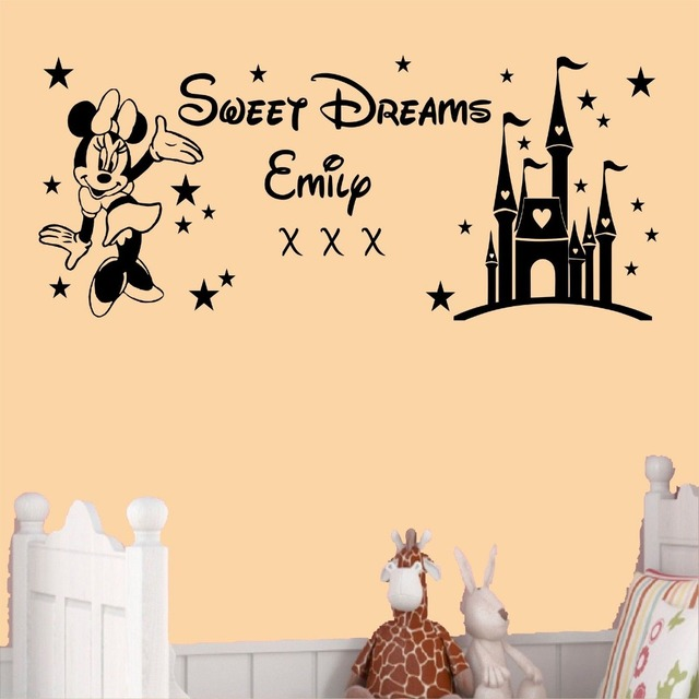 55x134cm Custom Kids Name Sweet Dreams Princess Minnie Mouse Wall Stickers  Art Girls Bedroom Sticker Customized