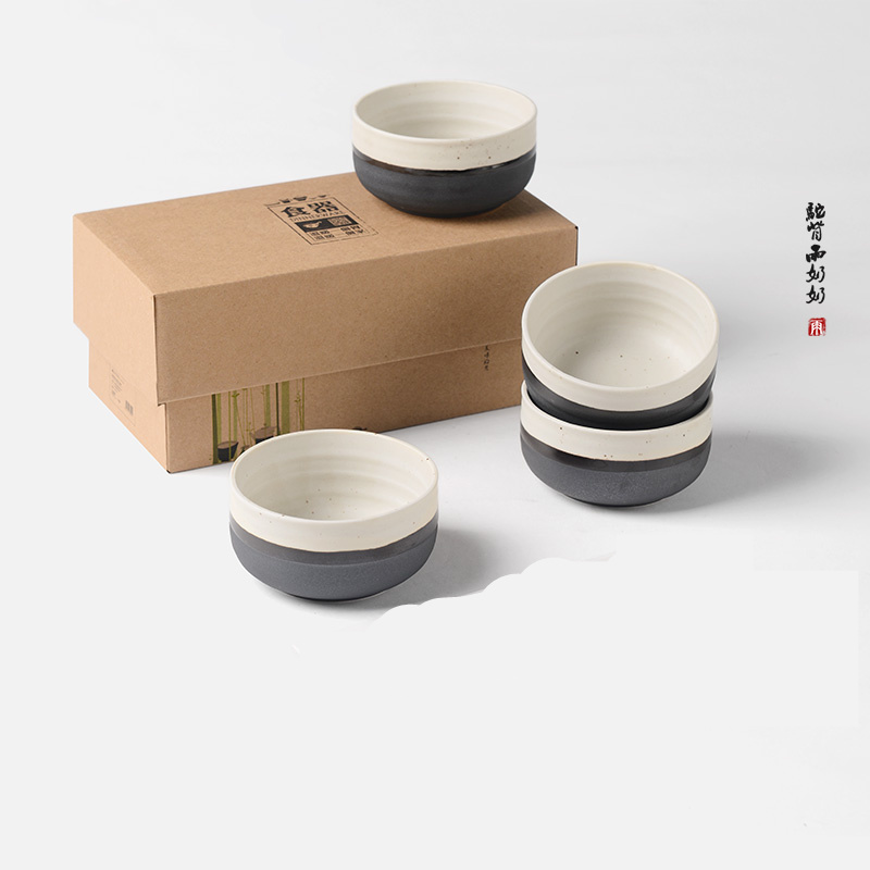 Creative Dinnerware Original Ink White Korean and Japanese Style Ceramic Thick Ceramic Tableware Bowl Set of