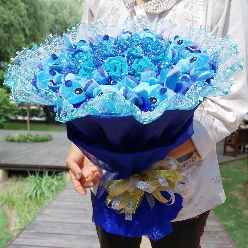 Dessin animé point Bouquet en peluche animaux en peluche jouets doux mignon artificiel Kawaii faux fleurs meilleur anniversaire noël filles cadeaux