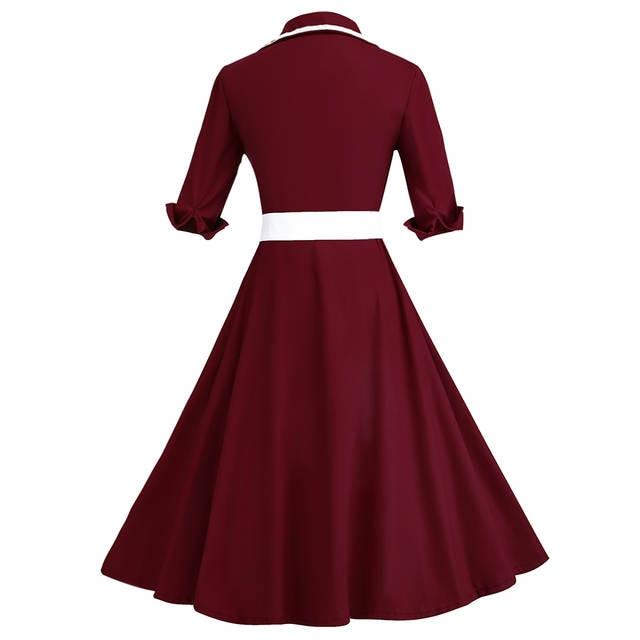 Kenancy Plus Size 3 Colors Stripe Print 3 4 Sleeves Lapel Vintage Dress  1950 s Audrey 6671c3aec463