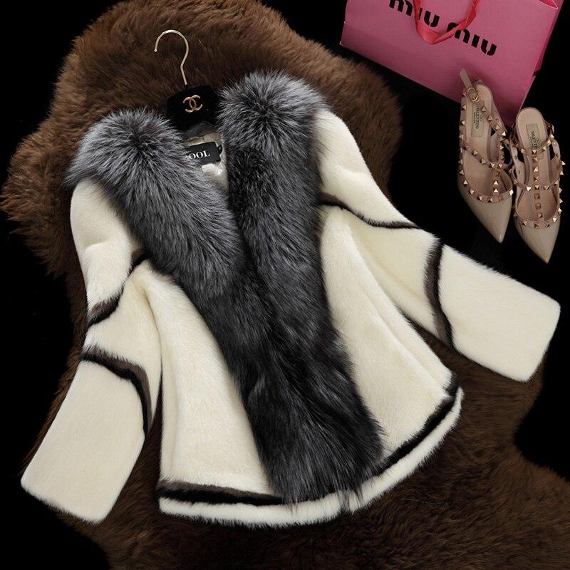 2016 Новая Мода Природный Настоящее норки пальто с Silver Fox Меховой Воротник Короткая Верхняя Одежда