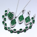 Top Quality Green Created Emerald White Crystal 925 Silver  Jewelry Set Earring Necklace Bracelet Pendant Ring For Women
