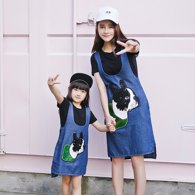 2016 summer style denim dress family look clothig set jean dress+t-shirt mom and daughter dress matching mother daughter clothes