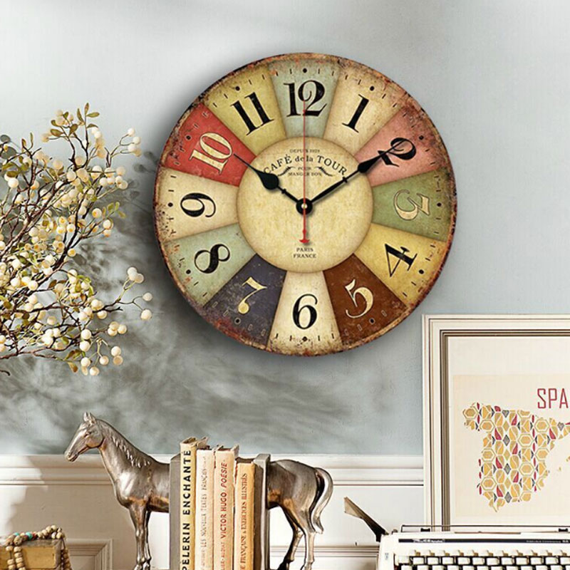 Retro Wall Clocks Quartz Clock Living Room Hanging Wall Decoration Ornaments Silent Clock Home Deco Roman Number Multi Style