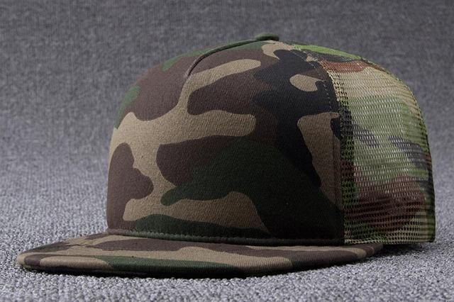 6pcs Classic Camouflage Mesh Flat Brim Snap Back Hats for Spring Summer  Flat Bill Camo Net 1787098404fc