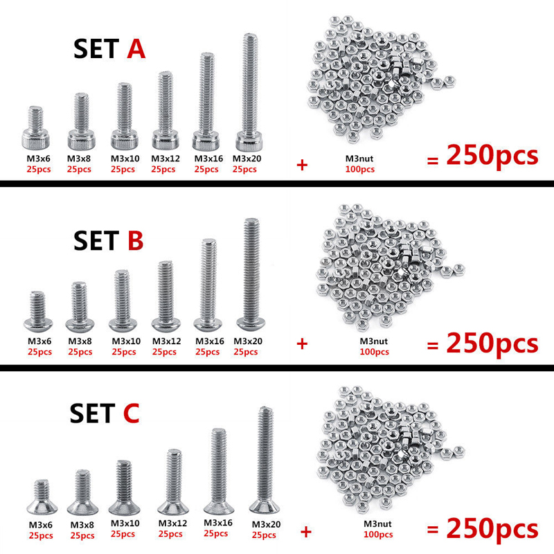 480Pcs M2 M3 M4 Stainless Steel Hex Screws/&Socket Bolts and Nuts Kit Assortment