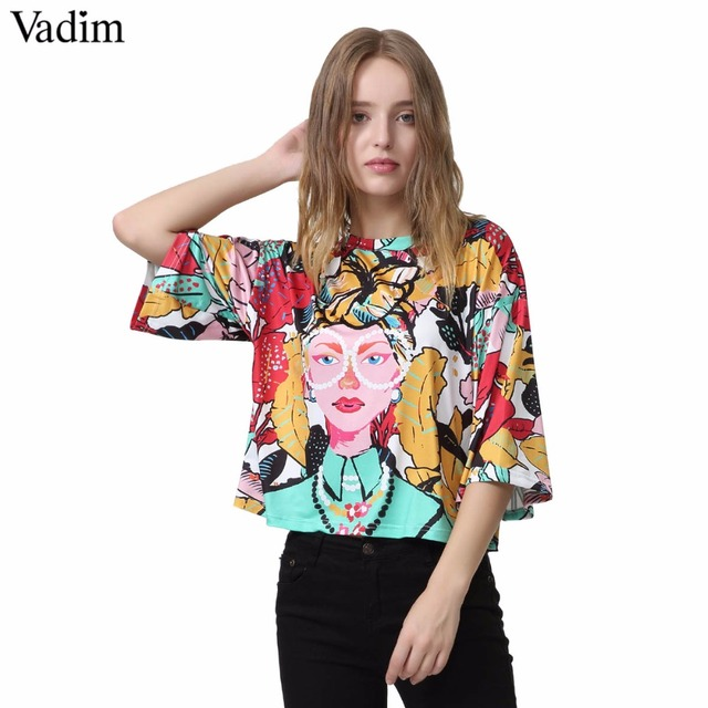 97278182569d18 Vadim women fashion girl tropical print loose shirts o neck short style  pleated blouse ladies casual