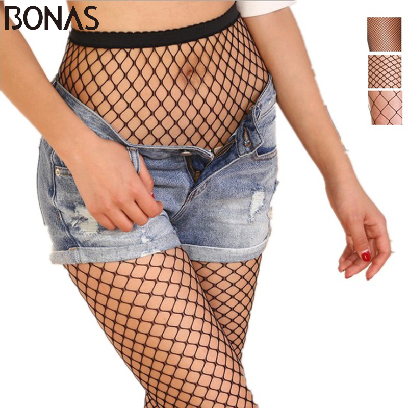 BONAS Women 20D Fishnet Tights Small Middle Big Mesh Fishnet Sexy Pantyhose Lady Black Nylon Breathable Stockings Hollow Female