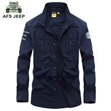 AFS JEEP 2016 Autumn men's military style casual brand pure cotton khaki shirt spring man army green long sleeve shirts M-XXXL