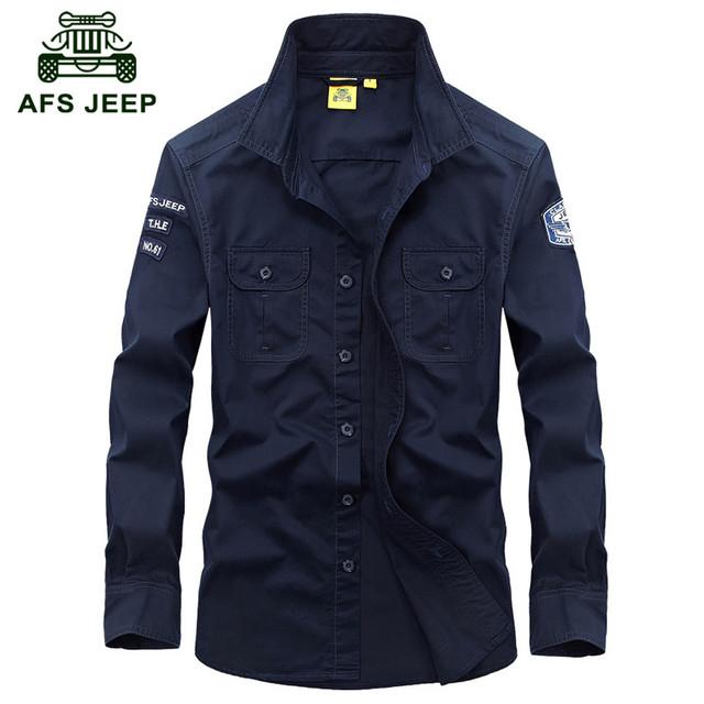 AFS JEEP 2016 Otoño estilo militar hombres de marca informal pure camisa de primavera hombre verde del ejército de color caqui de algodón de manga larga camisetas M-XXXL