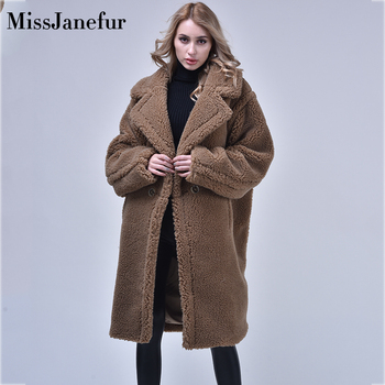 00% Real Wool Teddy Coat Ladies Winter Fashion Real Sheep Fur Jacket Female Warm Oversize Clothing Wool Outerwea