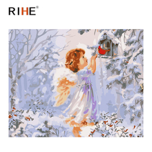 RIHE Little Angel Oil Painting By Numbers Children Cuadros Decoracion Acrylic Paint On Canvas For Artwork Modern Home Decor 2018