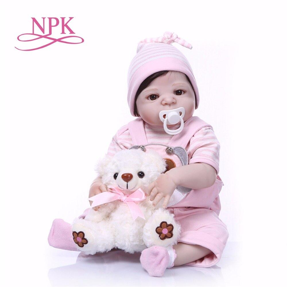 NPK 57 cm Del Silicone Pieno Del Bambino Bambola dipinta Neonati Rinato Realistico giocattoli della ragazza Del Corpo Per I Bambini Di Natale o Di Compleanno regalo