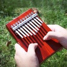 무료 레터링 10 개 키 엄지 손가락 피아노 칼림 바 붉은 나무 Mbira Likembe Sanza Finger 피아노 Traditional Musical Instrument 그레이트 선물
