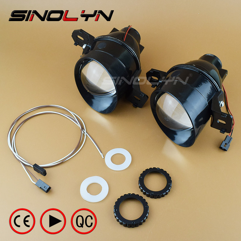 SINOLYN For Nissan Fog Lights Bi-xenon Lens Projector Driving Lamp Lense with HID D2H Xenon Bulb Waterproof Retrofit DIY Hi Low bi xenon headlights for mazda 6 2003 2004 hi low beam projector lens with angel eyes hid bulb