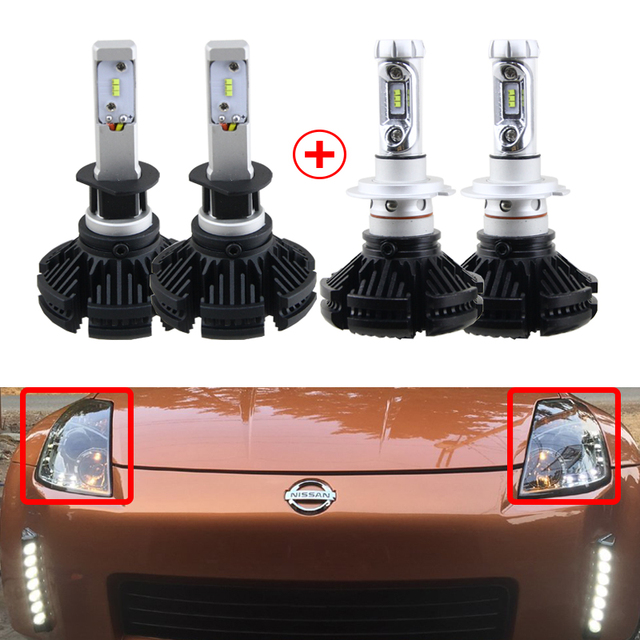 Oem Replacement H1 H7 Led Headlight Conversion Kit Bulbs For Nissan 350z 2003 2004 2005 High Low Beam Can Bus