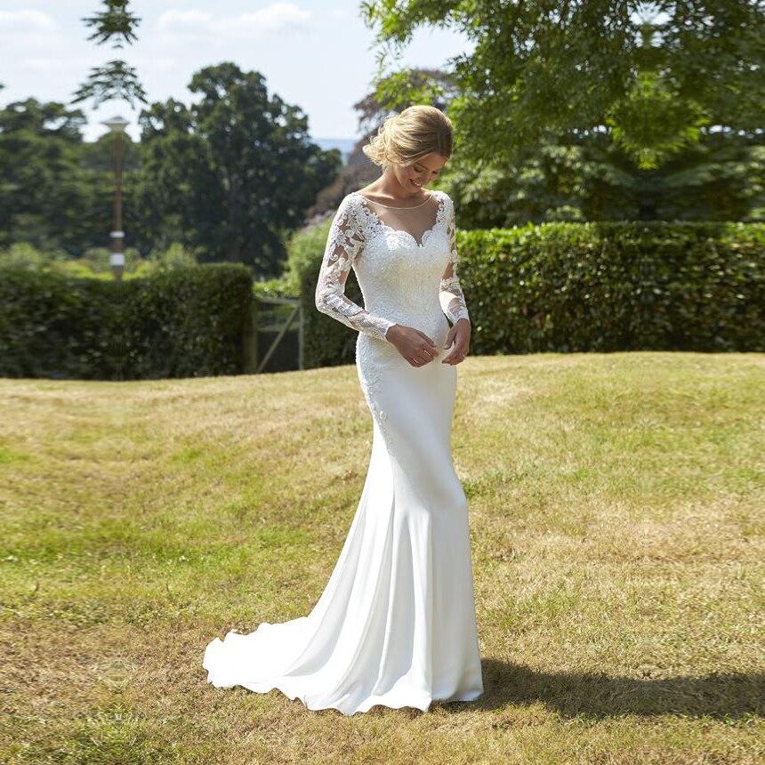 Long Sleeve Mermaid Wedding Dress Lace Appliques Bridal Gown Custom Made Chiffon Wedding Dresses Elegant Vestido De Noiva