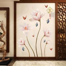Adesivos de parede 3d flor borboleta, decalques de parede para sala de estar, quarto ou tv, artes de mural, decoração de casa