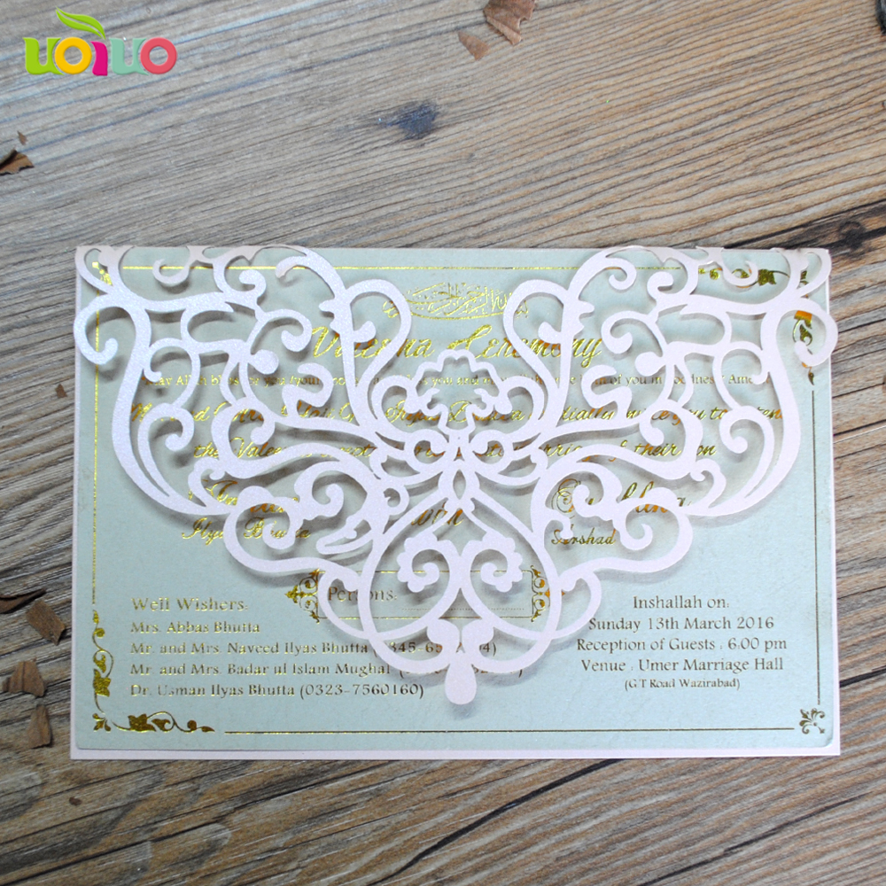 New design pink lace invitation card folded wedding greeting cards ...