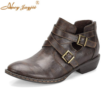 Female Ankle Boots Ladies Adult Shoes Med Square heels Round Toe Buckle Spring/Autumn Mature Elegant Fashion Nancyjayjii 2019