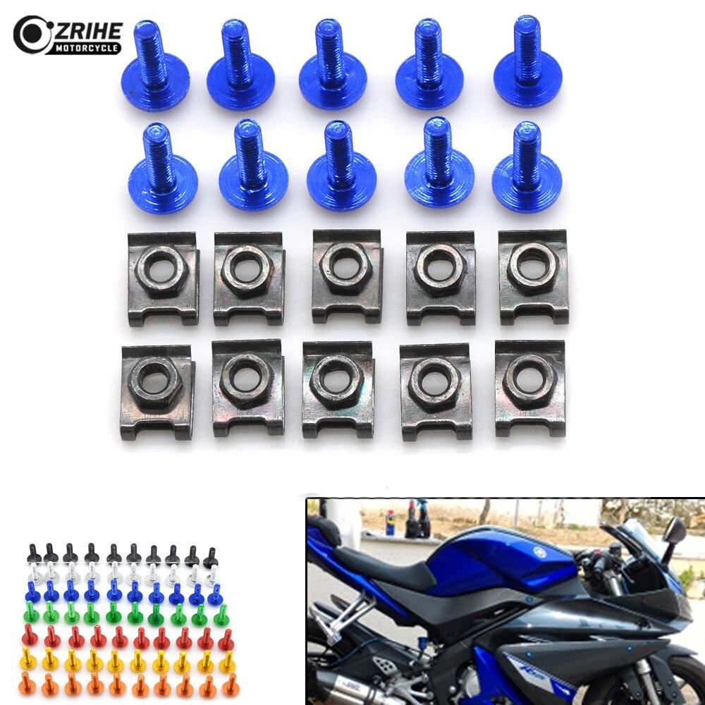 6MM CNC Motorcycle Accessories Fairing body work Bolts Screws 10pcs for KTM 1190 125 Duke Triumph tiger 800 1050 suzuki GSX1250F