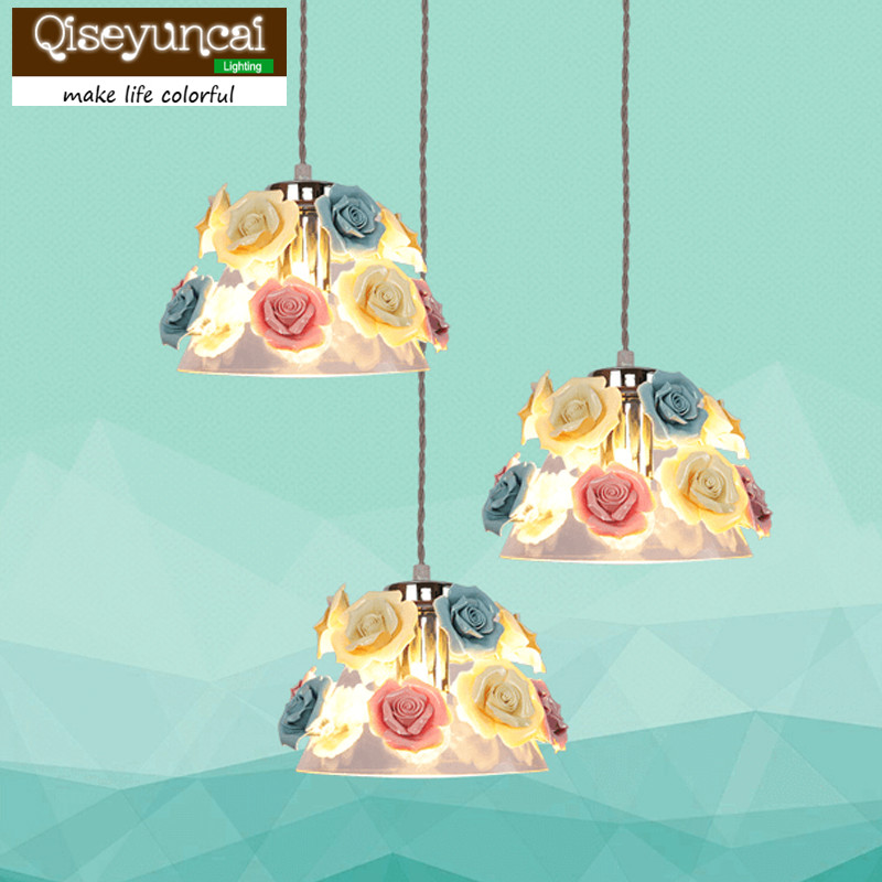 Qiseyuncai 2018 new Nordic restaurant ceramic chandelier study bedroom bar table stained glass lamp personality small chandelier new chinese style ceramic chandelier restaurant study bedroom art warm solid wood chandelier free shipping
