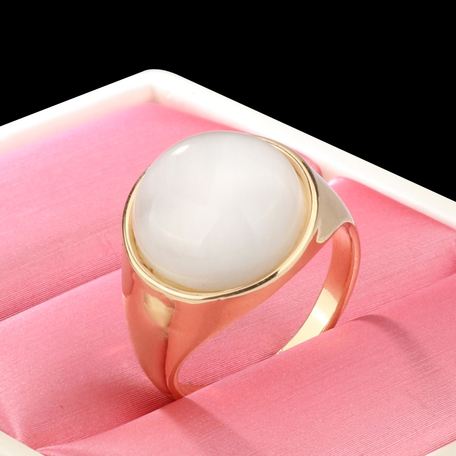 Kinel Luxury Round Opal Ring For Women Fashion Gold Color Punk ...