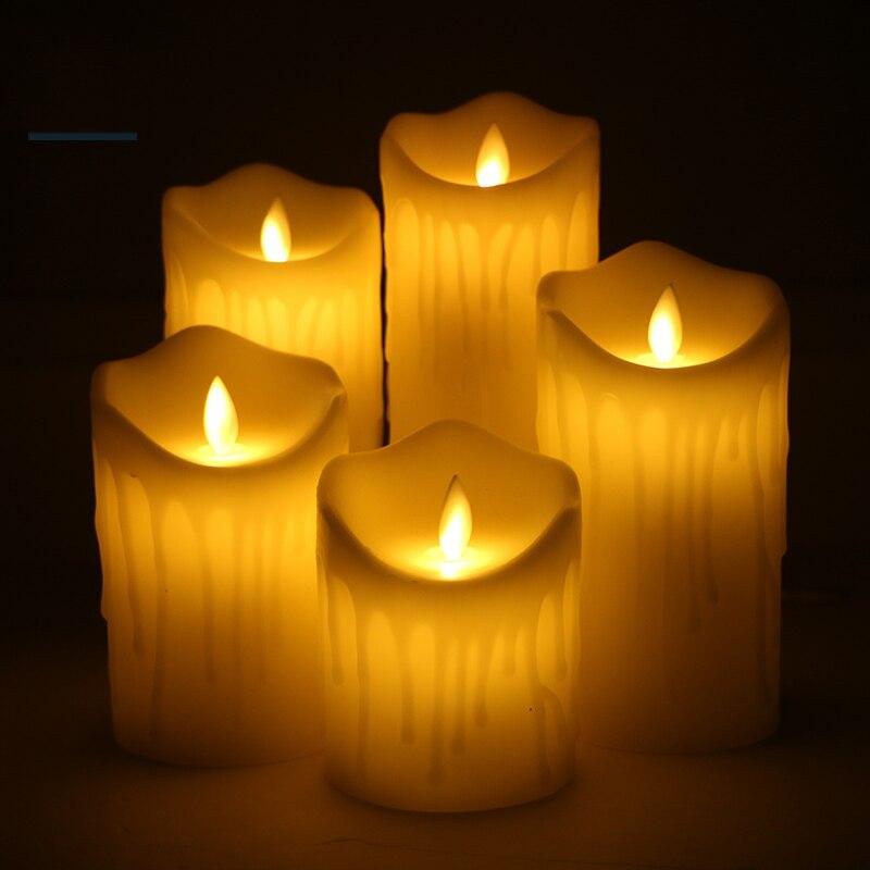 AAA Батарея работает беспламенного свечах имитации пламени мигает светодиодный свечи Ден ...