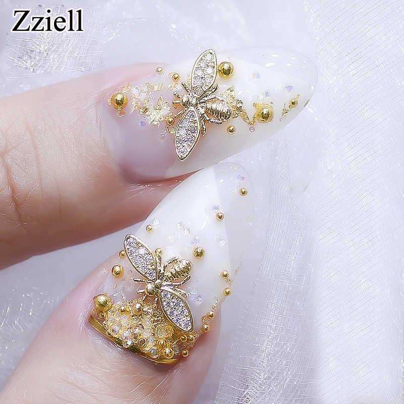 Zziell nuevo 2019 10 unids/lote Japón 3d oro abeja uñas decoración Diy brillo diamantes de imitación aleación tachuelas para accesorios de joyería