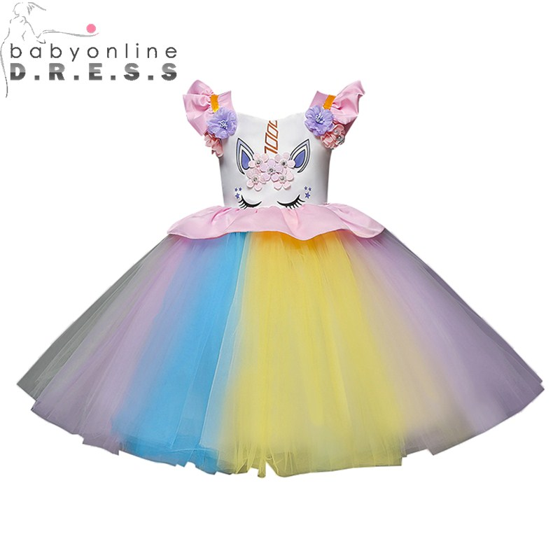 Multi Color Pattern   Flower     Girl     Dresses   Colorful First Communion   Dresses   For   Girls   With Appliqued   Flower   Kids Evening Gowns